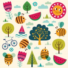 Bees Tress Fruit Flower Mountain Series Clip Art Digital Clip Art Invitation Cards Images Wallpaper Vector Graphics Design-DW02