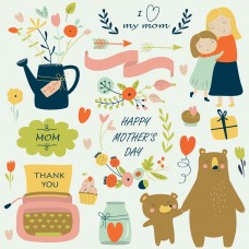 01 Mother's Day Clip Art Digital Clip Art Background Images Invitation Cards Wallpaper Vector Graphics Design-RW04