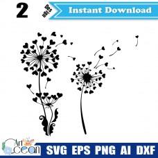 Dandelion svg,Dandelion clipart vector silhouette cut file cricut stencil dxf png-JY79