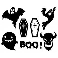 Halloween ghost Cross Grave black White Graphics Design-JY08