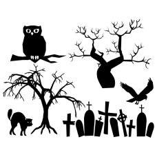 01 a Halloween Tree black White Graphics Design-JY09