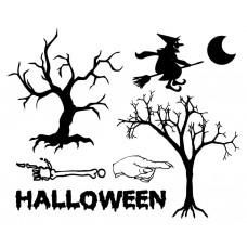 Halloween Tree Wizard bones and fingers  black White Graphics Design-JY10