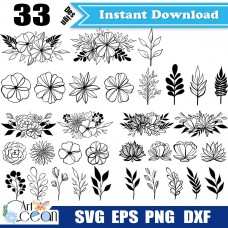 Flower leaf leaves svg clipart silhouette cut file cricut stencil file dxf-JY129