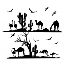 Desert Camel  kangaroo cactus Tree black White Graphics Design-JY15