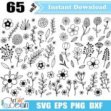 Flower floral leaves svg clipart,Flower floral leaves vector silhouette cut file cricut stencil file dxf png-JY157