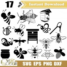 Animals Bees svg,Animals Bees clipart,Animals Bees logo vector silhouette cut file cricut stencil file png dxf-JY165