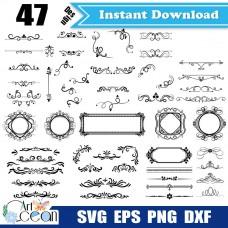 Flower Floral wreath svg clipart vector silhouette cut file cricut stencil file png dxf-JY168