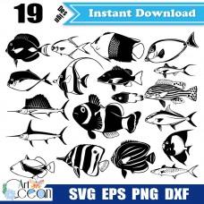 Ocean auearium fish clownfish sowrdfish svg clipart silhouette cut file stencil file png dxf-JY178