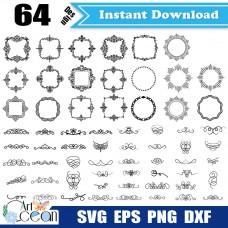 Flower svg,frames svg,split monogram svg,grain decorative frame svg clipart vector silhouette cut file cricut stencil dxf-JY185