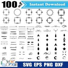 Flower svg,frames svg,grain decorative frame svg,split monogram svg,garland svg,frame vector silhouette cut file cricut stencil file png dxf-JY186