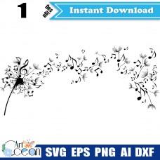 Music Dandelion svg,Dandelion clipart vector silhouette cut file cricut stencil dxf png,notes svg,dandelion svg,plants svg-JY192