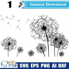 Dandelion plants svg clipart,flower svg,plant svg,dandelion vector cut file cricut png dxf-JY195