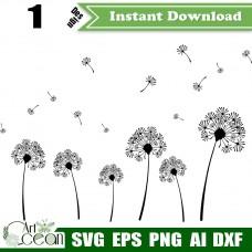 Dandelion plants svg clipart,Dandelion logo vector cut file cricut png dxf-JY196