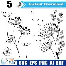 Dandelion svg,Dandelion plants clipart,Dandelion vector silhouette cut file cricut stencil dxf png,dandelion svg,plants svg-JY198