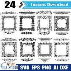 Flower svg,frames svg,grain decorative frame svg,classic flower svg,garland clipart,frames vector silhouette cut file cricut png dxf-JY199