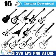 Guitar svg clipart,music svg clipart,rock svg,guitar vector silhouette cut file cricut png dxf-JY213