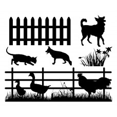 Dog and cat Flower grass Chicken duck Enclosure Balck White Graphics Design-JY21
