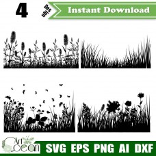 Flower grass svg,Flower grass clipart,flower grass vector silhouette cut file cricut png dxf-JY23