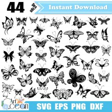 Butterfly svg,butterfly clipart,butterfly vector silhouette cut file stencil file png dxf-JY247