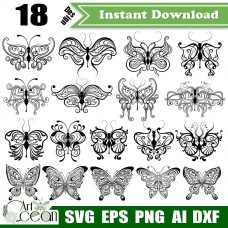 Butterfly svg,butterfly clipart,insect svg,butterfly vector clipart silhouette cut file stencil file png dxf-JY248