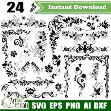 Flower Floral Border Trim separator clipart,flower svg,plant svg,leaves svg,Flower floral vector cut file cricut png dxf-JY249