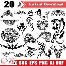 Animal svg,totem svg,tiger svg,leopard svg,cow svg,shark svg,animal totem clipart vector cricut silhouette cut file png dxf-JY268