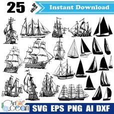 Sailboat svg,ship svg,sailboat clipart,ship clipart,sailboat vector silhouette cut file cricut template png dxf-JY309