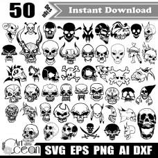 Skull svg,Halloween svg,Pirate svg,Skull png,Skull Clipart,Skull silhouette cut file Cricut stencil file png dxf file-JY325