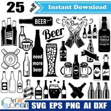Beer bottle svg,beer svg,wine bottle svg,beer mug svg,beer bottle clipart png sihouette cut file cricut stencil file dxf-JY334