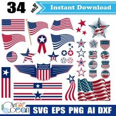 American flag svg,flag svg,american flag clipart vector silhouette cut file cricut png dxf-JY338