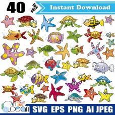 Ocean animals svg,marine life starfish turtle fish svg,ocean animals clipart silhouette cricut stencil file png-JY356