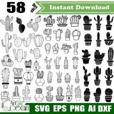 Cactus svg,cactus clipart,cactus png,cactus vector,succulent svg,plant svg,cactus silhouette cut file cricut stencil file dxf-JY365