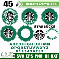 Starbucks svg png,Starbucks Clipart Font,Coffee svg Clipart,Template Monogram svg,silhouette,cut file,Cricut,stencil file,png,dxf file-JY374
