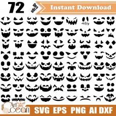 Pumpkin face svg clipart,halloween faces svg,pumpkin png sihouette cut file cricut stencil file dxf-JY393