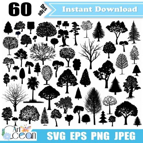 Tree Svg Branch Svg Pine Svg Palm Tree Svg Forest Svg Tree Clipart Png Logo Silhouette Cut File Cricut Stencil File Jy406