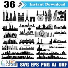 City svg,buildings svg,landmarks clipart,new york svg,paris svg,london svg,rome svg,berlin svg,sidney svg,amsterdam svg,city cut file cricut png dxf-JY43