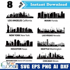 American city Buildings svg Landmarks Clipart,Los Angeles svg,Miami svg,New York svg,Las Vegas svg,Houston svg,Seattle svg-JY44