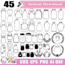 Mason jar svg,Mason jar Clipart,bottle svg,jam bottle svg,kitchen svg,decor svg,Mason jar vector silhouette cut file Cricut png dxf-JY470