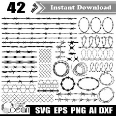 Barbed Wire svg clipart,prison svg,fence svg,frame svg,cable svg,barbed wire vector silhouette cut file cricut stencil file png dxf-JY515