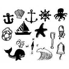 Ocean Animal Fish octopus Starfish wave shell ship anchor Compass black White Graphics Design-JY56