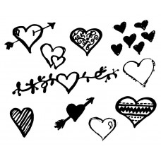 Heart  Valentine's Day black White Graphics Design-JY61