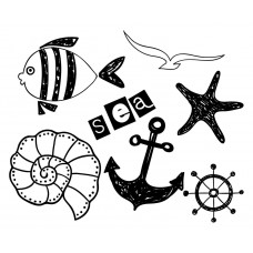 Ocean Animal Fish shell Starfish Seagull ship anchor Rudder black White Graphics Design-JY62