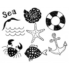 Ocean Animal Fish shell Crab Starfish Seagull ship anchor wave black White Graphics Design-JY63