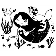 Mermaid Ocean Fish shell Starfish Crab Coral Animal black White Graphics Design-JY65