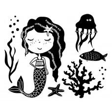 Mermaid Jellyfish fish Water grass Starfish Coral Ocean Animal black White Graphics Design-JY66