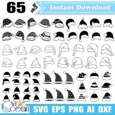 Christmas hats svg,christmas hat clipart cricut silhouette cut file stencil png dxf-SD27
