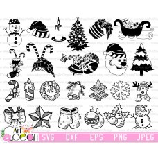 Christmas svg,santa claus svg,christmas tree svg,pentacle svg,wreath svg,bells svg clipart silhouette cut file cricut png dxf-SD30