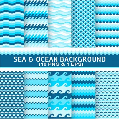 Sea Ocean Theme Seamless Background Design Digital Paper Wallpaper